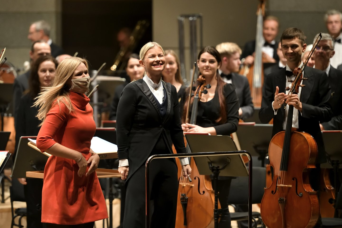 Justina Repeckaite with conductor Anu Tali and Lithuanian State Symphony Orchestra