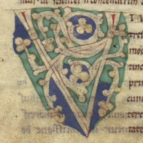 The initial 'V' from the manuscript on vellum.
